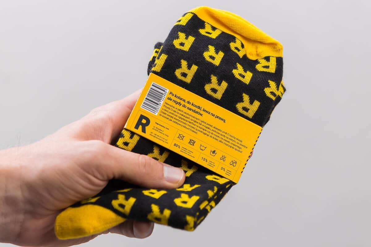 skarpetki R czarne żółte