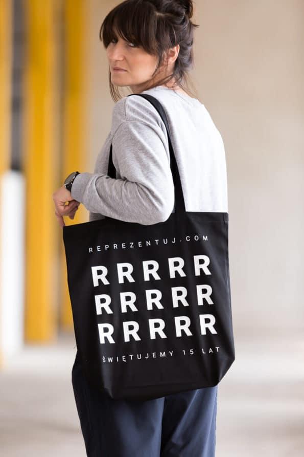 torba czarna biały napis reprezentuj.com urodziny