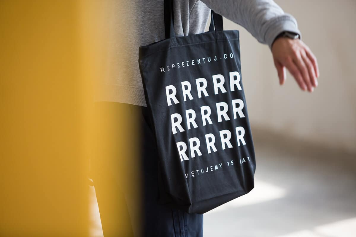 materiałowa torba czarna biała reprezentuj sklep online